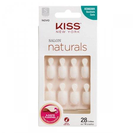 Unhas Postiças Kiss NY Salon Natural Curto Quadrado com Aba