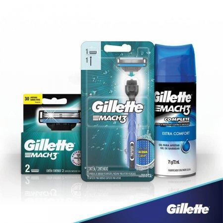 Kit Aparelho de Barbear Gillette Mach3 Acqua-Grip com 1 unidade + 3 cartuchos + 1 Gel de Barbear com 72ml