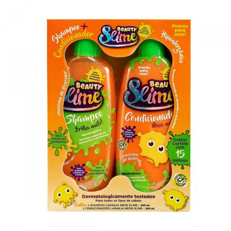 Kit Beauty Slime Laranja Neon Shampoo + Condicionador 200ml cada