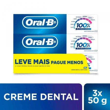 Kit Pasta de Dente Oral-B 100% Menta Refrescante com 3 unidades de 50g