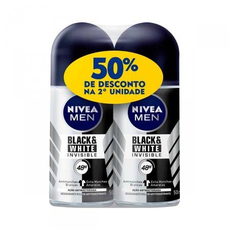 Kit Desodorante Roll-On Nivea Men Black & White Invisible com 2 Unidades