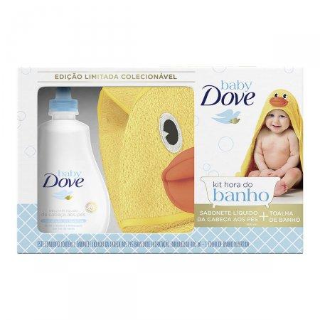 Kit Hora do Banho Dove Baby Sabonete Líquido com 400ml + Toalha de Banho Pato