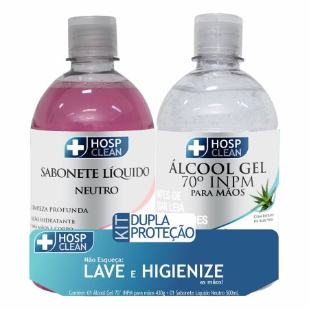 Kit Hosp Clean Dupla Proteção Sabonete Líquido 500ml + Álcool Gel 430g  