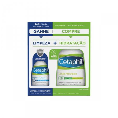Kit Cetaphil Loção Hidratante com 473ml + Loção de Limpeza com 120ml
