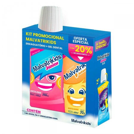 Kit Promocional Malvatrikids Enxaguante Bucal Júnior 250ml + Gel Dental F-Infantil 70g Foto 1