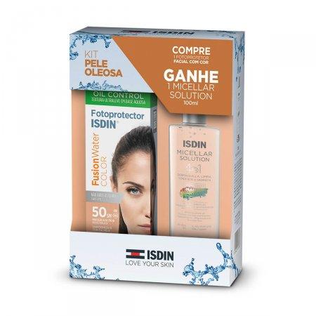 Kit Protetor Solar Facial Isdin Fusion Water Color FPS50 50 ml Grátis Solução Micelar Isdin 100ml  