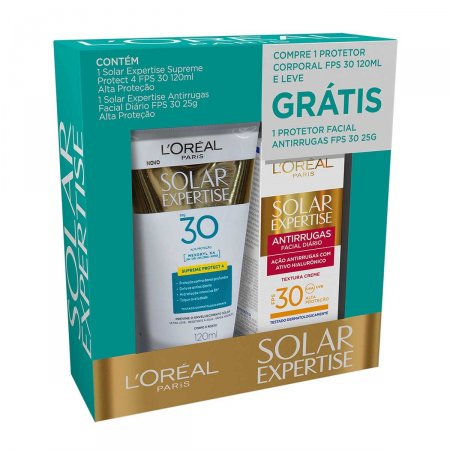 Kit Protetor Solar L'Oréal Solar Expertise com 1 Protetor Facial Antirrugas FPS 30 de 25g + 1 Protetor Corporal Protect 4 FPS 30 de 120ml
