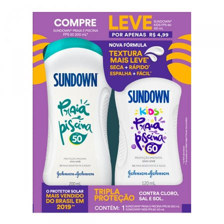 Kit Protetor Solar Sundown Praia e Piscina com 1 Protetor Adulto FPS 50 de 200ml + 1 Protetor Infantil Kids FPS 60 de 120ml