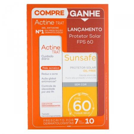 Kit Antiacne Actine Trat Cuidado Diário + Protetor Solar Sunsafe FPS60
