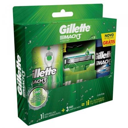 Kit Aparelho de Barbear Gillette Mach3 Acqua-Grip Sensitive