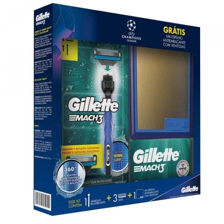 Kit Aparelho de Barbear Gillette Mach 3 Acqua Grip + Refis Grátis Espelho