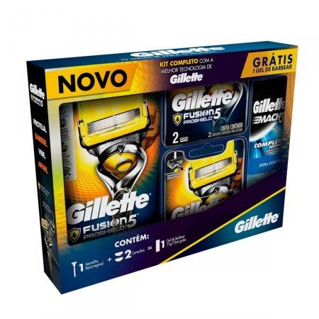 Kit Aparelho de Barbear Gillette Proshield + 2 Cargas - Grátis Mini Gel Mach3