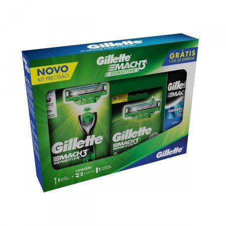 Kit Aparelho de Barbear Gillette Mach3 Sensitive + 2 Cargas - Grátis Mini Gel