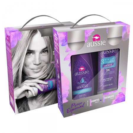 Kit Shampoo Aussie Moist 180ml + Creme de Tratamento Aussie 3 Minute Miracle Moist 236ml