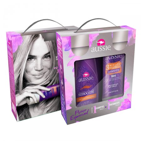 Kit Shampoo Aussie Smooth + Creme de Tratamento Aussie 3 Minute Miracle Smooth