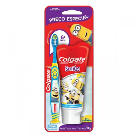 Kit Colgate Escova Dental Infantil Minions + Creme Dental Infantil Minions