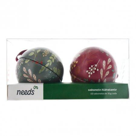 Kit Natal Needs 2 Latas em Formato de Bola + 2 sabonetes em Barra Frutas Vermelhas