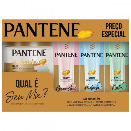 Kit Pantene Misturinha Base com 270ml + 3 Ampolas Shots com 15 ml cada