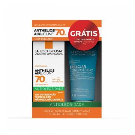 Kit La Roche-Posay com Protetor Solar Anthelios Airlicium Sem Cor FPS 70 com 50g + Gel de Limpeza Profunda Effaclar com 40g