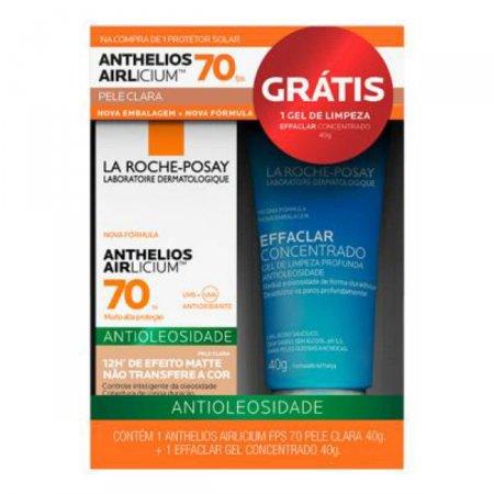 Kit Protetor Solar Facial Anthelios Airlicium Pele Clara FPS 70 + Gel Concentrado Effaclar