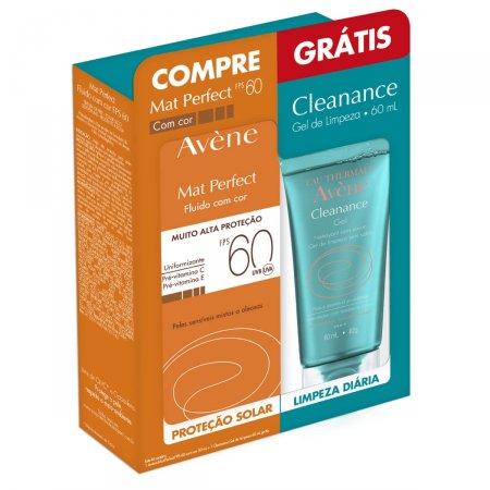 Kit Protetor Solar Facial Avène Mat Perfect Fps60 com Cor + Gel de Limpeza Cleanance 1 Unidade | Drogaraia.com