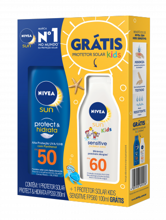 Kit Protetor Solar Corporal Nivea Sun Protect & Hidrata com 1 Protetor Infantil Kids FPS 60 de 100ml + 1 Protetor Adulto FPS 50 de 200ml