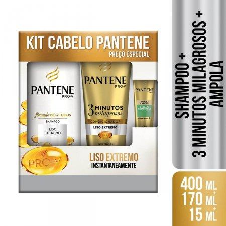 Kit Shampoo Pantene Liso Extremo + Condicionador 3 Minutos Milagrosos