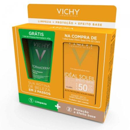 Kit Vichy Idéal Soleil Efeito Base Cor Clara FPS50 + Gel de Limpeza Normaderm