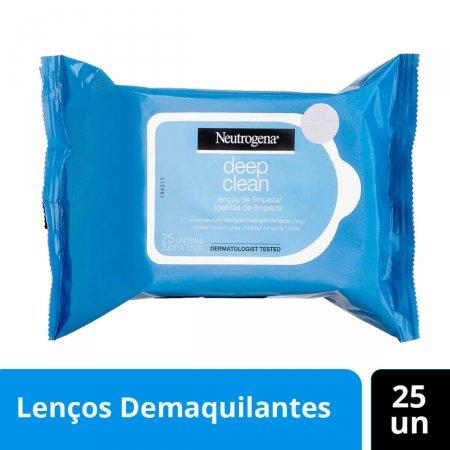 Lenço Demaquilante Neutrogena Deep Clean com 25 unidades