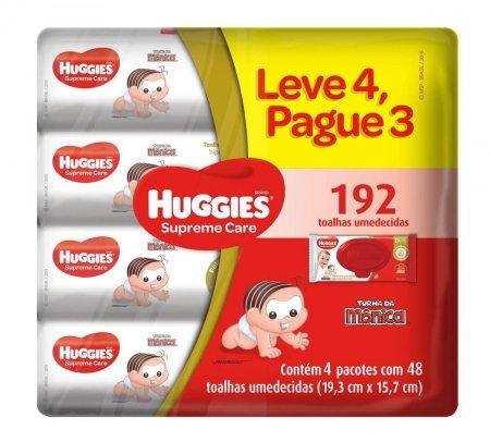 Kit Lenço Umedecido Huggies Supreme Care com 4 pacotes de 48 unidades