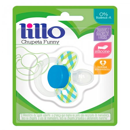 Chupeta de Silicone Lillo Funny Xadrez Tamanho 2 Cor Azul