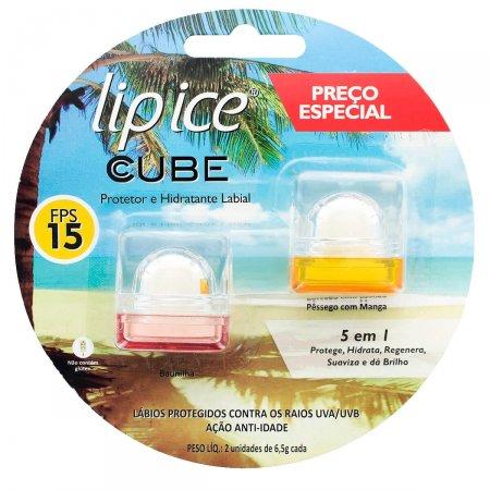 Lip Ice Cube Kit Protetor Hidratante Labial FPS15 Baunilha+Pessêgo com Manga