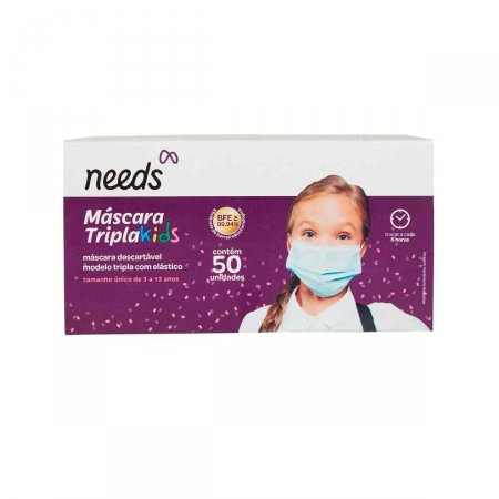 Menor preço em Máscara Descartável Tripla Proteção Needs Infantil com 50 Unidades