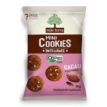 Mini Cookies Orgânicos Cacau E Castanhas