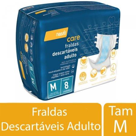 Fralda Descartável Needs Care Adulto Tamanho M 8 Unidades | Drogaraia.com Foto 2