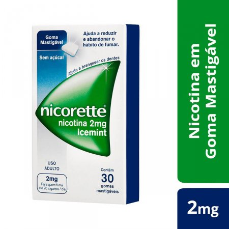 Goma para Parar de Fumar Nicorette Icemint 2mg com 30 unidades