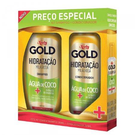 Kit Shampoo e Condicionador Niely Gold Hidratação Água de Coco