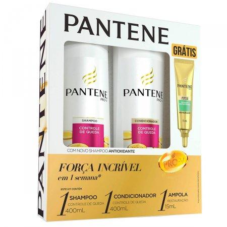 Shampoo + Condicionador Pantene Controle de Queda + Ampola Restauração