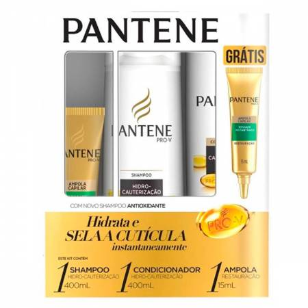Shampoo + Condicionador Pantene Hidro-Cauterização + Ampola Restauração
