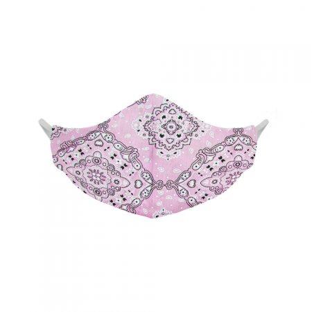 Máscara de Tecido Lavável Orgânica Dupla Face 100% Algodão Lilás Estampada