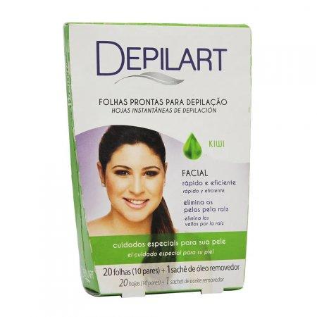 Folhas Prontas Para Depilação Facial Depilart Kiwi 20 Folhas