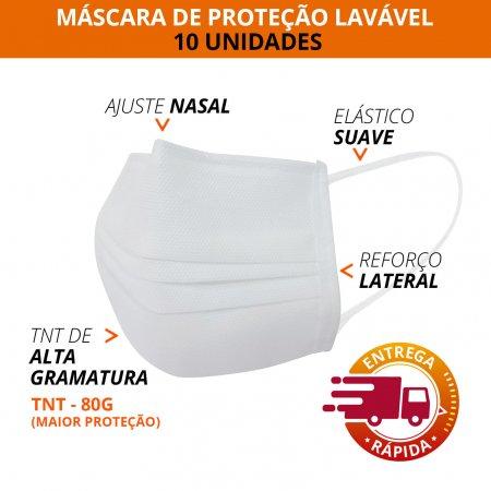 Máscara de Proteção c/ Ajuste Nasal Lavável 10 Unidades TNT 80g