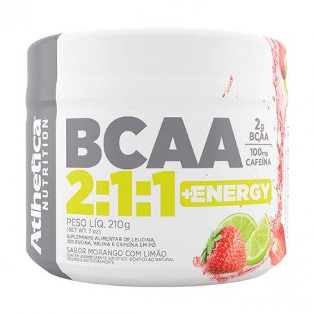 BCAA 2:1:1 e Energy Morango Limão Atlhetica 210g