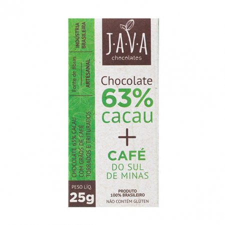 Chocolate 63% Java Chocolates com Café 25g