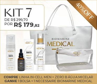 Kit 7 Promo Biomarine Medical In Cell Men Água Micelar Bolsa e Necessaire