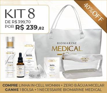 Kit 8 Promo Biomarine Medical In Cell Woman Água Micelar Bolsa e Necessaire