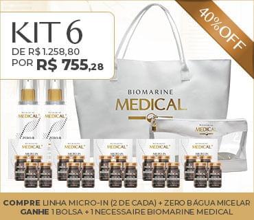 Kit 6 Promo Biomarine Medical Micro In Água Micelar Bolsa e Necessaire