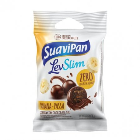 Banana-passa Suavipan drageado com chocolate zero 40g