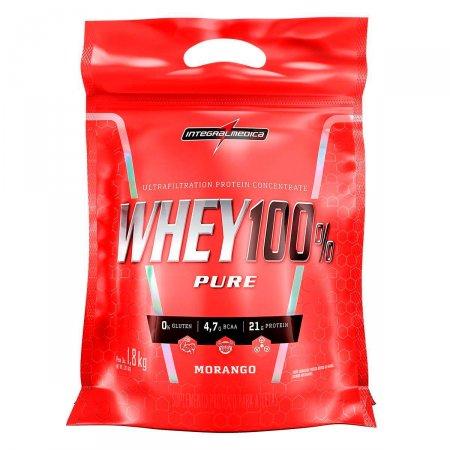 Whey Protein 100% Pure Morango IntegralMédica Refil - 1,8 Kg