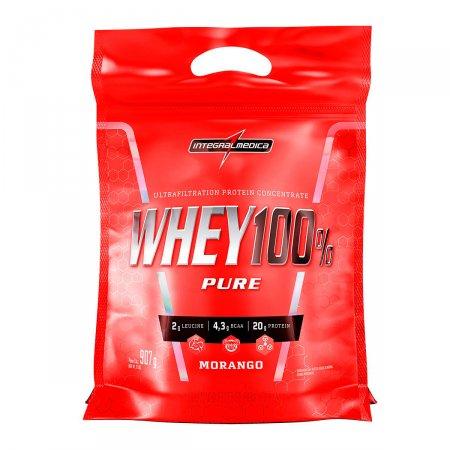 Whey Protein 100% Pure Morango IntegralMédica Refil - 907g